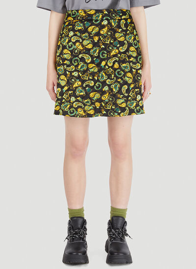 GANNI Quilted Paisley Skirt