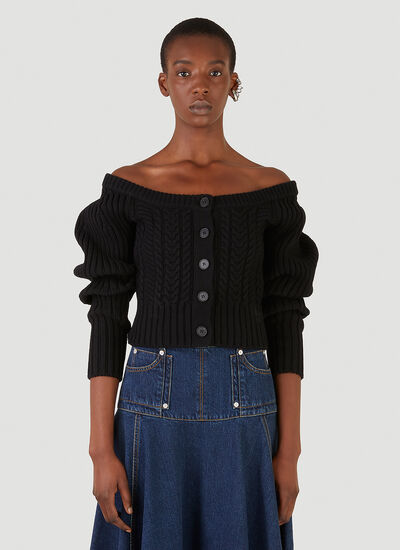 Alexander McQueen Off-The-Shoulder Cable-Knit Cardigan